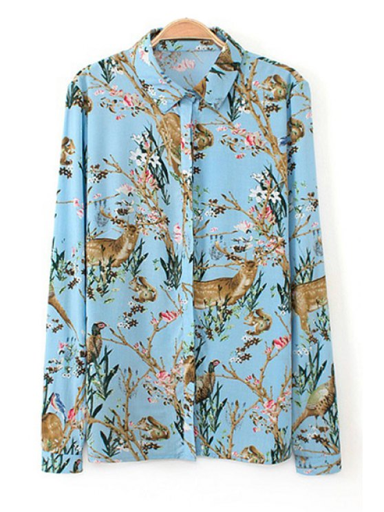 chic Floral and Animals Print Shirt - LIGHT BLUE S