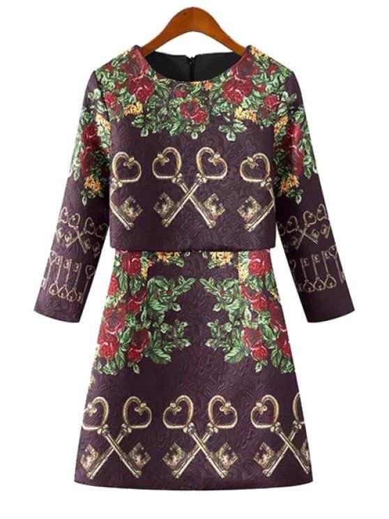 fashion Floral and Key Print 3/4 Sleeve Dress - PURPLE S