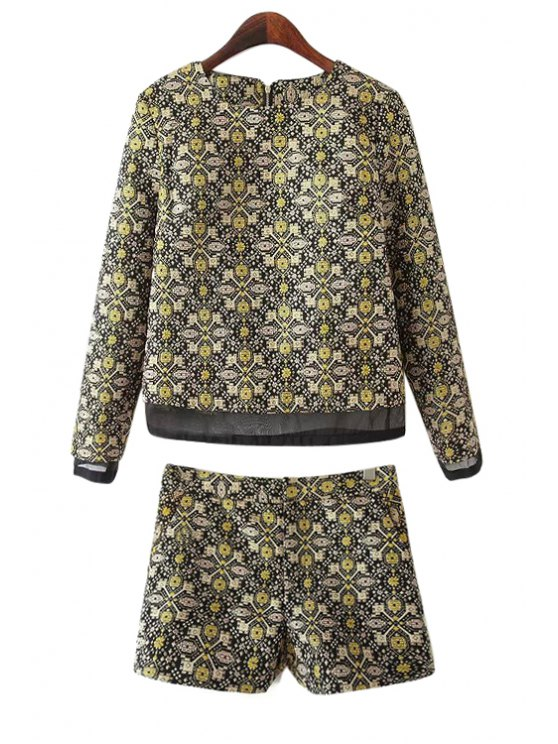 fashion Geometric Pattern Blouse and Shorts Suit - YELLOW S