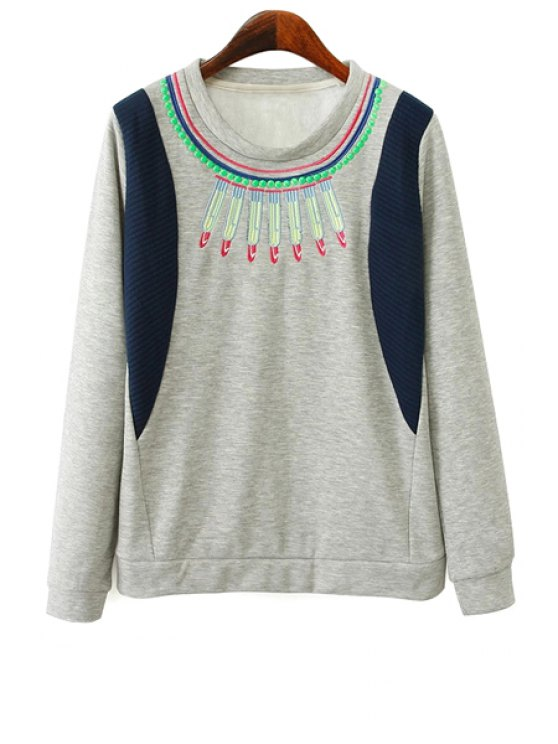 trendy Embroidery Long Sleeves Sweatshirt - GRAY S