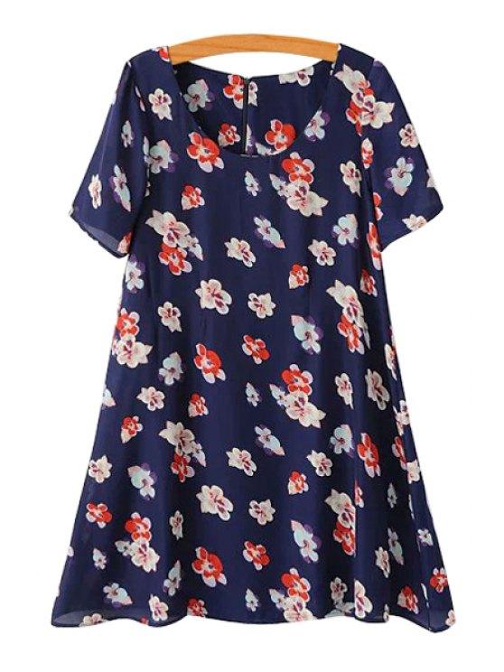 best Full Flower Print Short Sleeve Dress - BLUE S