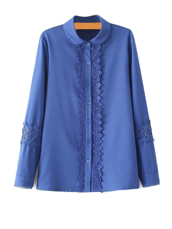 women's Turn-Down Collar Lace Splicing Shirt - BLUE M