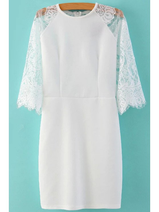 shop Lace Splicing Half Sleeve Dress - WHITE S