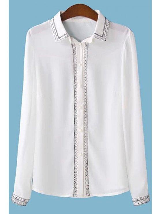 fashion Shirt Collar Embroidery Chiffon Shirt - WHITE M