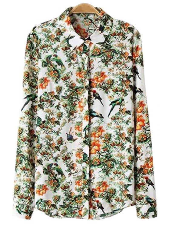 fancy Shirt Collar Floral and Bird Print Shirt - COLORMIX S