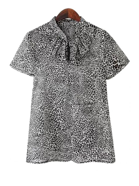 affordable Leopard Print Short Sleeve Blouse - LEOPARD S