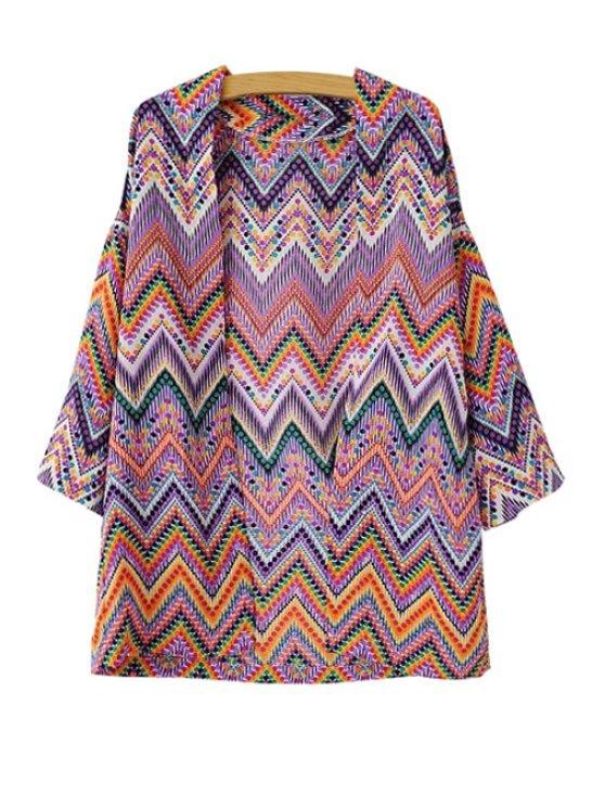 women Colorful Wavy Striped Blouse - COLORMIX S