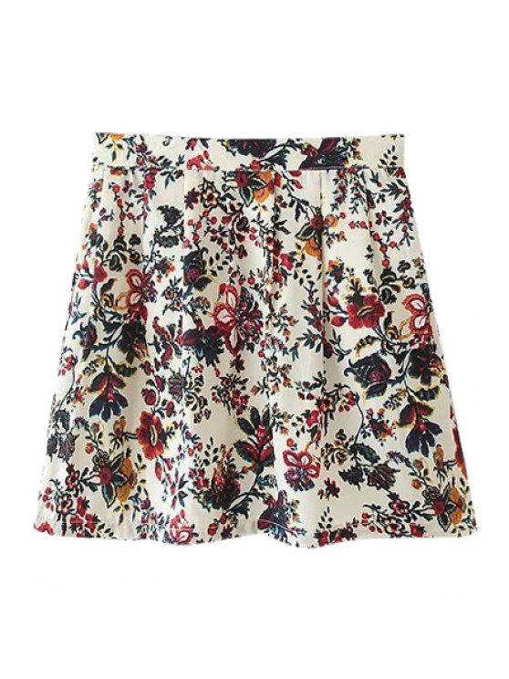 fashion A-Line Tiny Floral Print Skirt - COLORMIX S