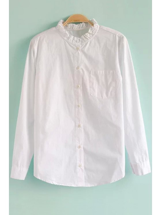 lady White Ruffled Stand Collar Shirt - WHITE M
