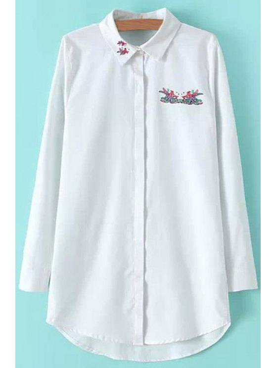 new Fish Embroidery Long Sleeve Shirt - WHITE S