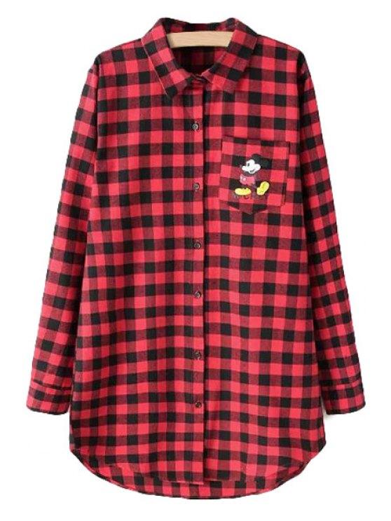outfits Checked Cartoon Print Shirt Collar Shirt - RED S