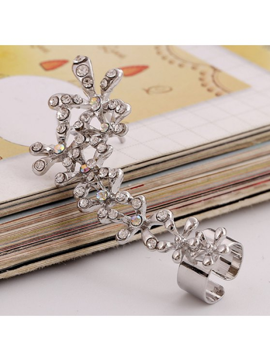 fashion ONE PIECE Delicate Women's Rhinestone Flower Earring - SILVER