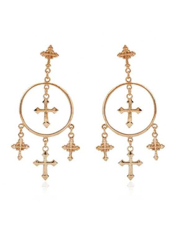 buy Pair of Retro Women's Solid Color Cross Pendant Earrings - GOLDEN