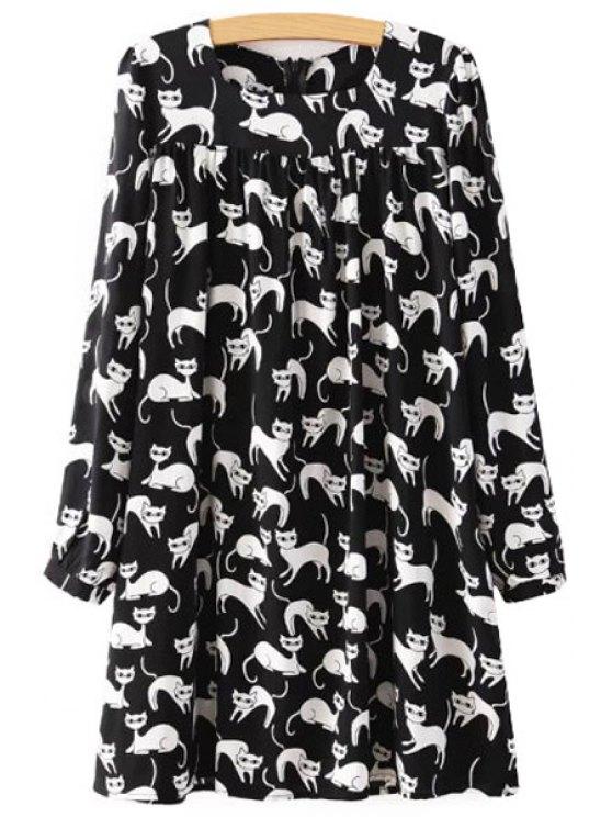 lady Full Kitten Print Long Sleeves Dress - BLACK S