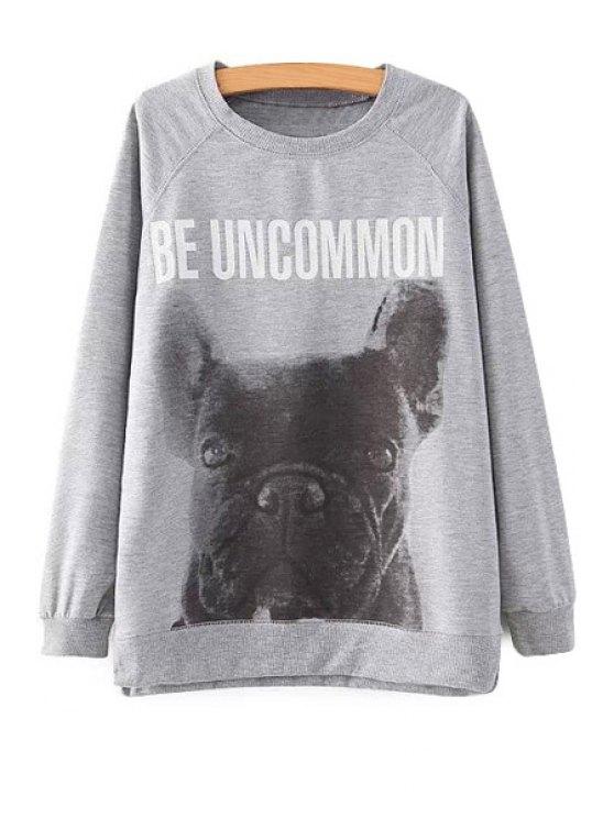 fashion Dog Print Long Sleeve Sweatshirt - GRAY S