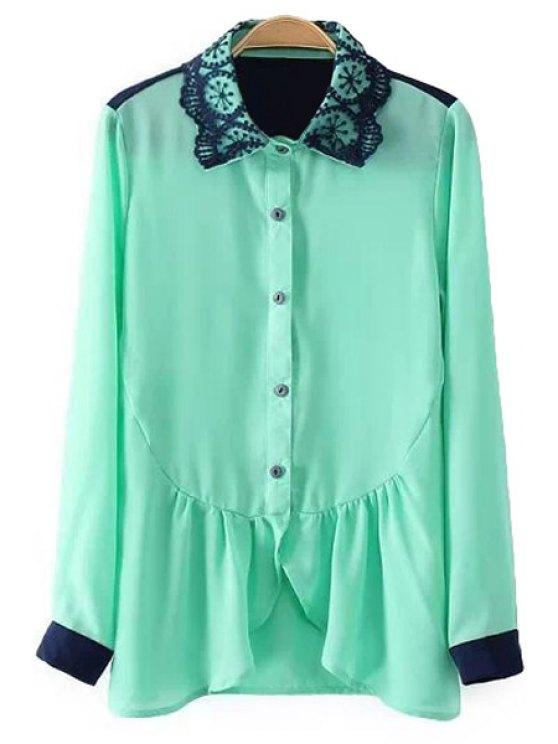 sale Ruffles Splicing Long Sleeves Shirt - GREEN S