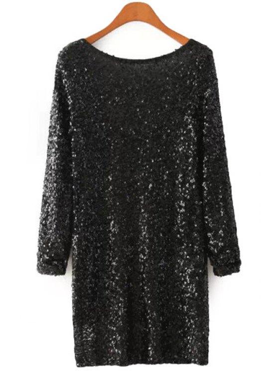 trendy Sequins Long Sleeve Black Dress - BLACK S