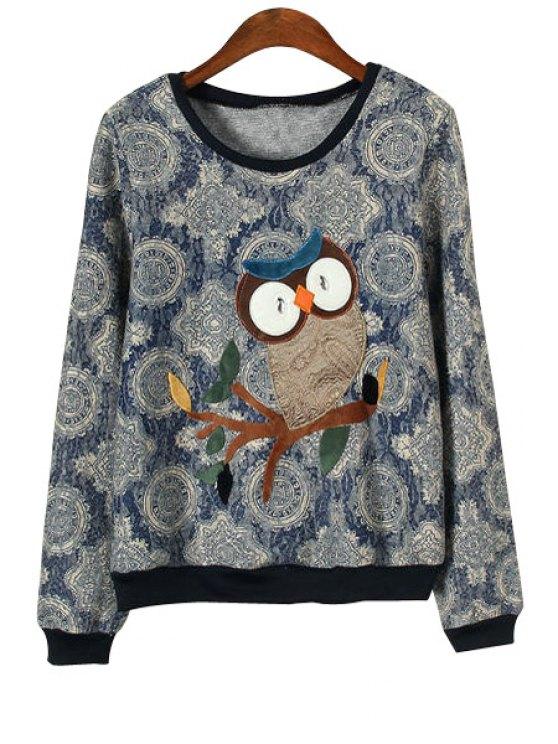 hot Owl Pattern Long Sleeves Sweatshirt - BLUE L