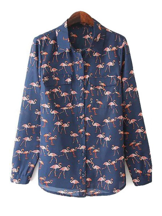 fashion Flamingo Print Long Sleeve Shirt - BLUE S