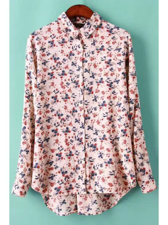 unique Tiny Floral Print Long Sleeve Shirt - PINK S