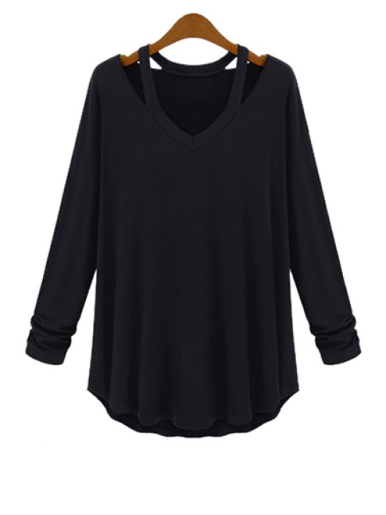 women's Solid Color Loose-Fitting T-Shirt - BLACK XL