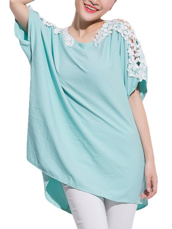 buy Crochet Flower Short Sleeve Blouse - GREEN ONE SIZE(FIT SIZE XS TO M)