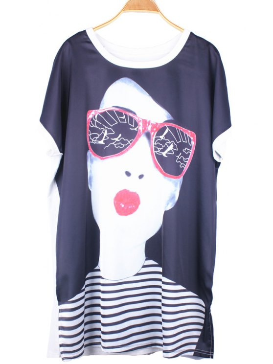 lady Figure Print Short Sleeve Dress - WHITE ONE SIZE(FIT SIZE XS TO M)