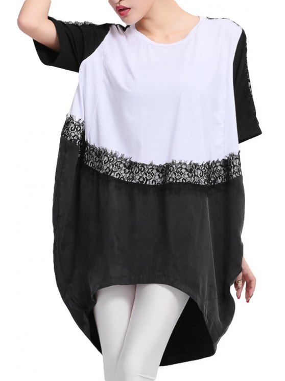 shops Short Sleeve Color Block T-Shirt - WHITE AND BLACK 2XL