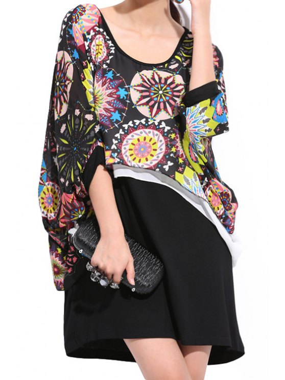affordable Print Chiffon Splicing Dress - BLACK ONE SIZE(FIT SIZE XS TO M)