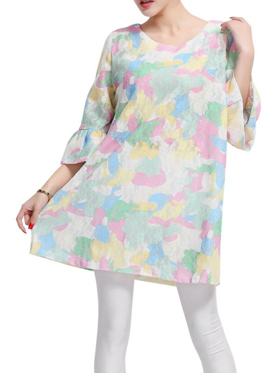 new Colorful Print Flare Sleeve Dress - COLORFUL XL