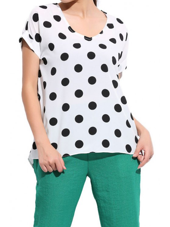 lady Polka Dot Short Sleeve Blouse - WHITE M