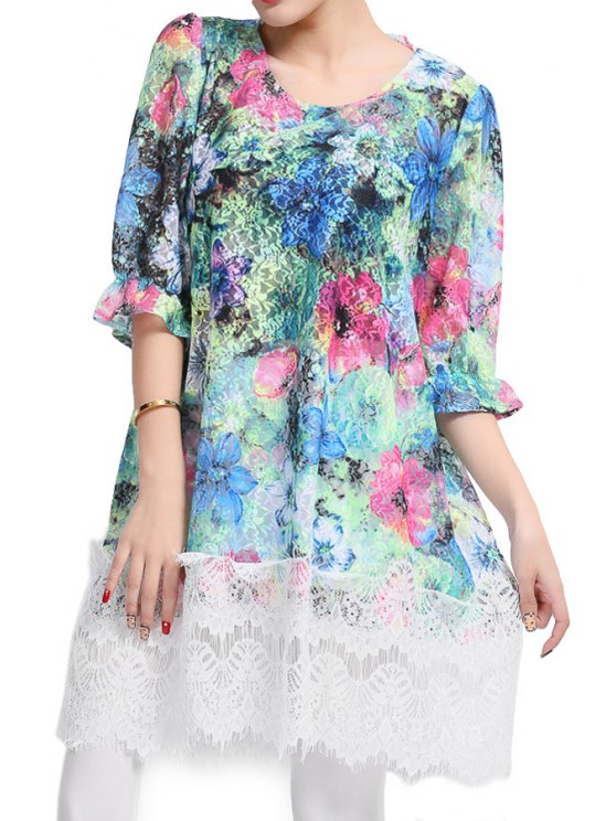 outfits Floral Print Lace Splicing Dress - BLUE ONE SIZE(FIT SIZE XS TO M)