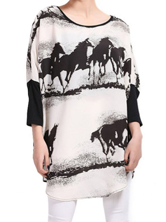 outfits Horse Print 3/4 Sleeve Blouse - OFF-WHITE ONE SIZE(FIT SIZE XS TO M)