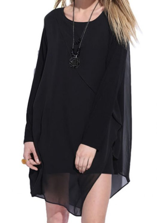 unique Solid Color Chiffon Long Sleeve Dress - BLACK L
