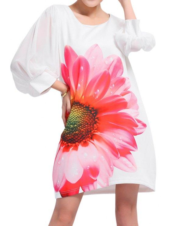 affordable Flower Print 3/4 Sleeve Dress - WHITE 2XL