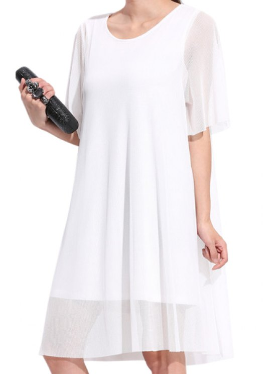 shop Voile Splicing Short Sleeve Dress - WHITE 2XL