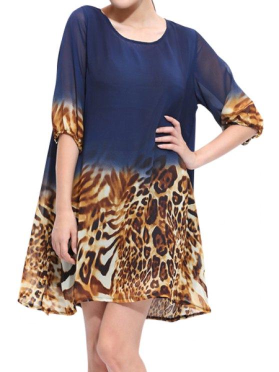 lady Leopard Print Half Sleeve Dress - BLUE ONE SIZE(FIT SIZE XS TO M)