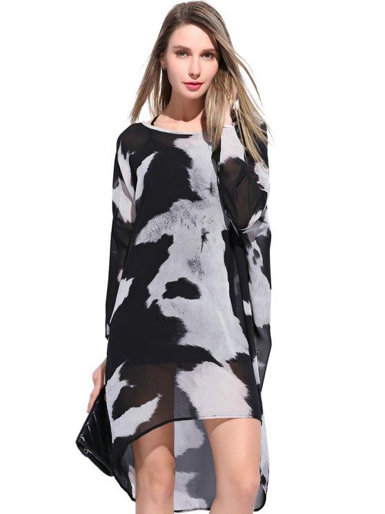 trendy Abstract Print High-Low Hem Dress - WHITE AND BLACK XL