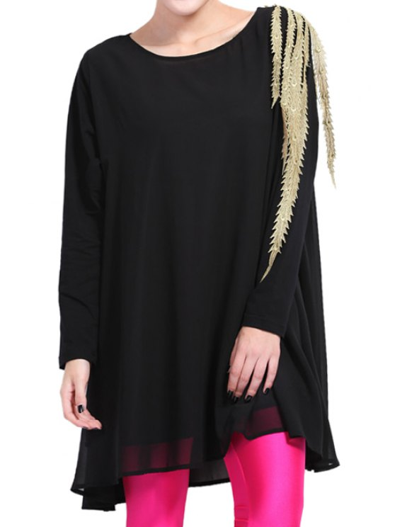 latest Embroidery Splicing Long Sleeve Dress - BLACK ONE SIZE(FIT SIZE XS TO M)