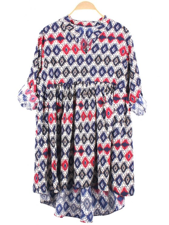 womens Argyle Print Long Sleeve Dress - COLORMIX ONE SIZE(FIT SIZE XS TO M)