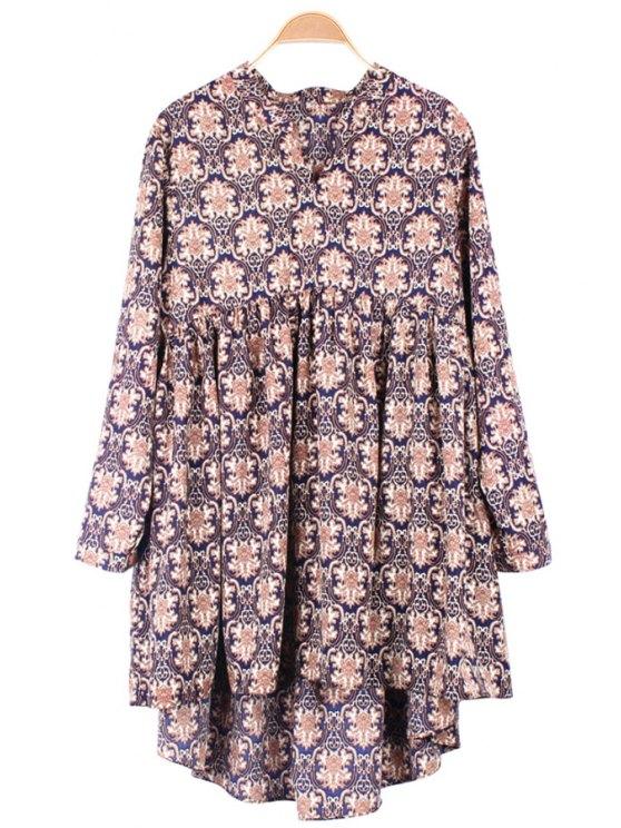 women Retro Print Long Sleeve Dress - COFFEE ONE SIZE(FIT SIZE XS TO M)