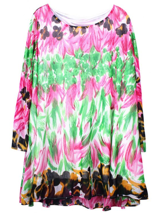 best Floral Print Long Sleeve Voile Dress - COLORFUL ONE SIZE(FIT SIZE XS TO M)