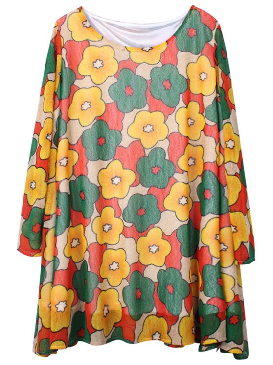 online Full Flower Print Voile Dress - COLORMIX ONE SIZE(FIT SIZE XS TO M)