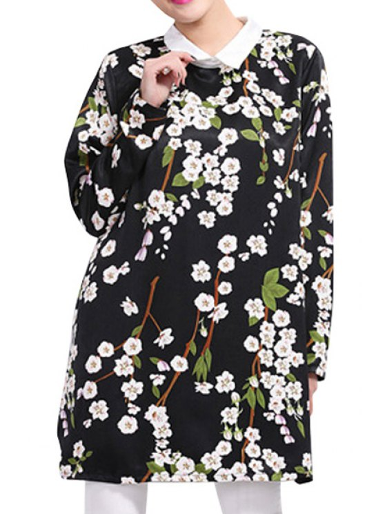 hot Floral Print Turn-Down Collar Dress - BLACK ONE SIZE(FIT SIZE XS TO M)