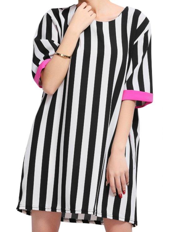 trendy Striped Pattern Half Sleeve Dress - PLUM 3XL
