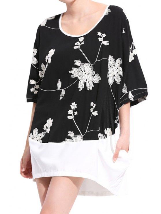 lady Floral Embroidery Half Sleeve Dress - BLACK 2XL