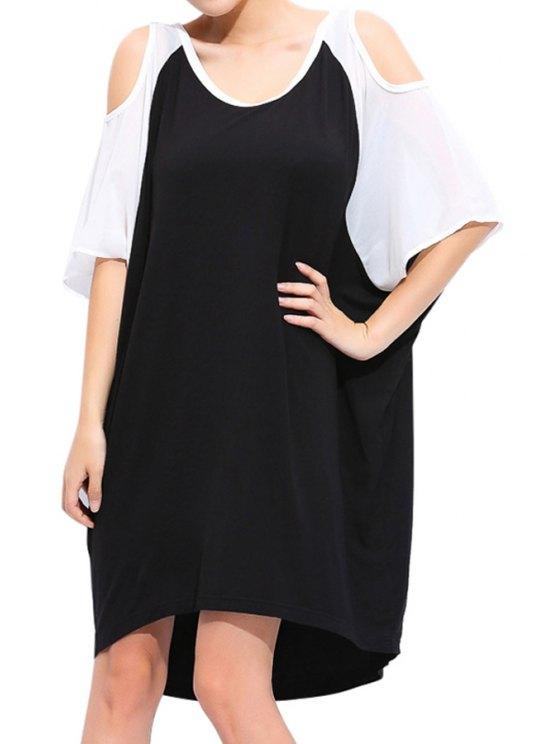 unique Color Block Off-The-Shoulder Dress - BLACK 2XL