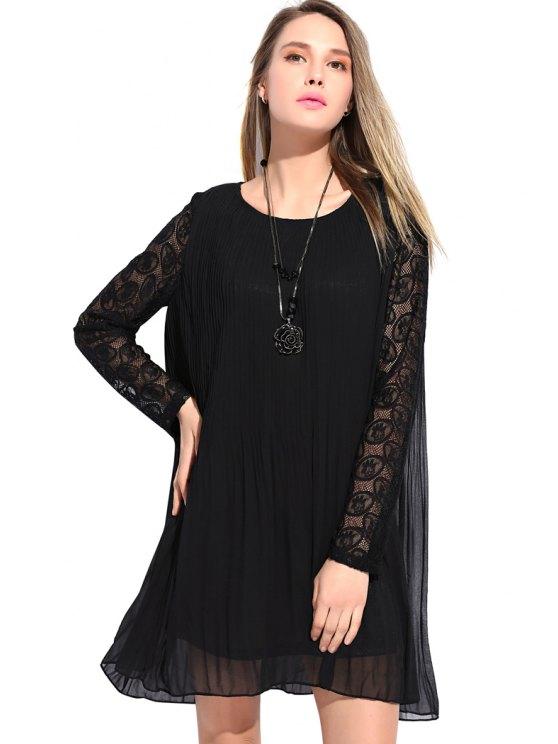 new Lace Splicing Pleated Dress - BLACK L