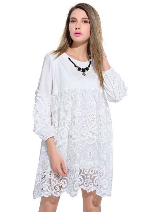 outfit Lace Splicing Nine-Minute Sleeve Dress - WHITE L