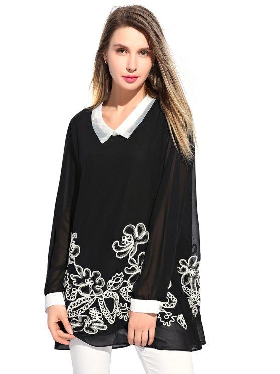 shops Floral Embroidery Chiffon Dress - BLACK XL